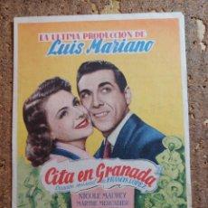Cine: FOLLETO DE MANO DE LA PELICULA CITA EN GRANADA CON PUBLICIDAD. Lote 260059815