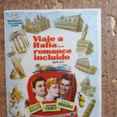 Cine: FOLLETO DE MANO DE LA PELÍCULA VIAJE A ITALIA... ROMANCE INCLUIDO CON PUBLICIDAD. Lote 260061590