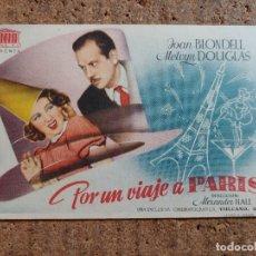 Cine: FOLLETO DE MANO DE LA PELÍCULA POR UN VIAJE A PARIS CON PUBLICIDAD. Lote 260062315