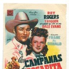 Cine: CAMPANAS DE ROSARITA - ROY ROGERS - PROGRAMA ORIGINAL CON PUBLICIDAD -. Lote 260359065