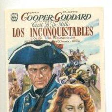 Cine: INCONQUISTABLES - GARY COOPER - PROGRAMA ORIGINAL SIN PUBLICIDAD - IMPECABLE. Lote 260363350