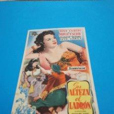 Folhetos de mão de filmes antigos de cinema: PROGRAMA DE MANO ORIG - SU ALTEZA EL LADRÓN - CON CINE DE RUTE IMPRESO AL DORSO. Lote 260384080