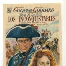 Cine: INCONQUISTABLES , - GARY COOPER PROGRAMA ORIGINAL CON PUBLICIDAD - IMPECABLE. Lote 260389795