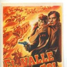 Cine: EN EL VALLE DEL SOL - PROGRAMA ORIGINAL CON PUBLICIDAD - IMPECABLE. Lote 260390110