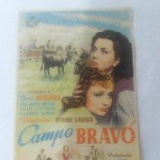 Flyers Publicitaires de films Anciens: CAMPO BRAVO CON PUBLICIDAD CINE MALAGA CINEMA. Lote 260578675