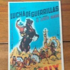 Cine: PROGRAMA DE CINE.LUCHA DE GUERRILLAS, EL JINETE ALADO, TOM MIX, PUBLICIDAD AL DORSO. Lote 260592695
