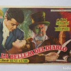 Cine: PROGRAMA DE CINE - LA BELLEZA DEL DIABLO - MICHEL SIMON, GÉRARD PHILIPE. Lote 260669875