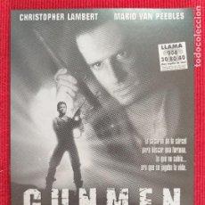 Cine: FOLLETO DE MANO: GUNMEN. CON: CHRISTOPHER LAMBERT, MARIO VAN PEEBLES.. Lote 260785220