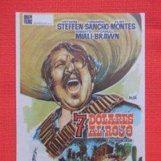 Cine: 7 DOLARES AL ROJO, IMPECABLE SENCILLO, FERNANDO SANCHO, C/PUBLI CINE CERVANTES VILLENA 1966. Lote 261261790
