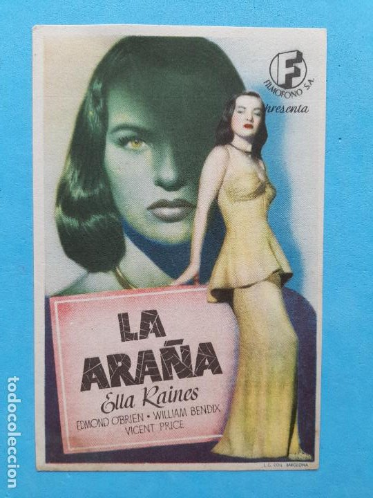 LA ARAÑA. ELLA RAINES, EDMOND O´BRIEN, WILLIAM BENDIX, VICENT PRICE (Cine - Folletos de Mano - Suspense)