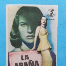 Folhetos de mão de filmes antigos de cinema: LA ARAÑA. ELLA RAINES, EDMOND O´BRIEN, WILLIAM BENDIX, VICENT PRICE. Lote 261786015