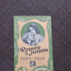 Cine: FOLLETO DE MANO PEQUEÑO DOBLE ROMEO Y JULIETA , NORMA SHEARER , LESLIE HOWARD , JOHN BARRYMORE. Lote 261806545