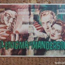 Cine: FOLLETO DE MANO DE LA PELÍCULA EL ENIGMA DE MANDERSON CON PUBLICIDAD. Lote 261921335