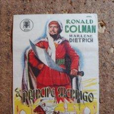 Cine: FOLLETO DE MANO DE LA PELÍCULA EL PRÍNCIPE MENDIGO CON PUBLICIDAD. Lote 261921475