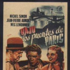 Cine: P-8042- BAJO LOS PUENTES DE PARIS (BELLE ÉTOILE) MICHEL SIMÓN - JEAN PIERRE AUMONT. Lote 262019880