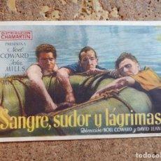 Cine: FOLLETO DE MANO DE LA PELÍCULA SANGRE SUDOR Y LAGRIMAS. Lote 262024665