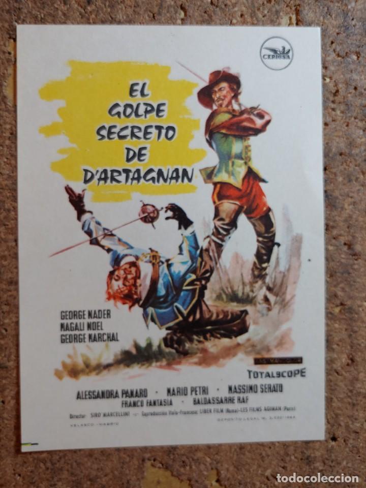 FOLLETO DE MANO DE LA PELÍCULA EL GOLPE SECRETO DE D'ARTAGNAN (Cine - Folletos de Mano - Aventura)