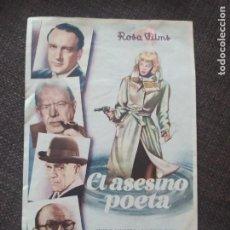 Cine: FOLLETO DE MANO EL ASESINO POETA , SANDERS , LUCILLE BALL. Lote 262103045