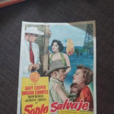 Cine: FOLLETO DE MANO SOPLO SALVAJE , GARY COOPER , BARBARA STANWYCK. Lote 262105700