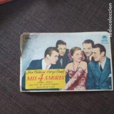 Cine: FOLLETO DE MANO MIS 4 AMORES , JOAN FONTAINE , GEORGE BRENT. Lote 262105970