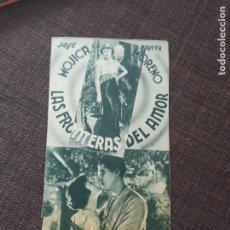 Cine: FOLLETO DE MANO DE CARTON LAS FRONTERAS DEL AMOR , JOSE MOJICA , ROSITA MORENO. Lote 262108210