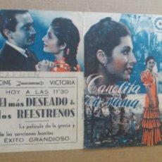 Cine: CANELITA EN RAMA DOBLE ABIERTO VERDE CON PUBLICIDAD CINE VÍCTORIA. Lote 262271155