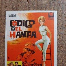 Cine: FOLLETO DE MANO DE LA PELÍCULA CODIGO DEL HAMPA CON PUBLICIDAD. Lote 262396355