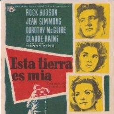 Cine: PROGRAMA DE CINE - ESTA TIERRA ES MIA - ROCK HUDSON, JEAN SIMMONS - CINE RETIRO - 1960. Lote 262853390