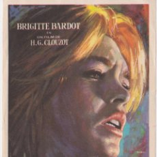 Cine: PROGRAMA DE CINE - LA VÉRITÉ - BRIGITTE BARDOT - DORSO EN BLANCO. Lote 262853615