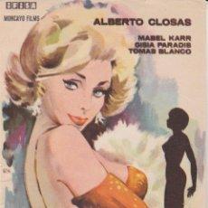 Cine: PROGRAMA DE CINE - MUERE UNA MUJER - ALBERTO CLOSAS, MABEL KARR - DORSO EN BLANCO. Lote 262853990