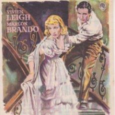 Cine: PROGRAMA DE CINE - UN TRANVIA LLAMADO DESEO - VIVIEN LEIGH, MARLON BRANDO - CINE DIANA - 1956. Lote 262854205