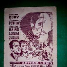 Cine: FOLLETO DOBLE EL FANTASMA DE LA OPERA PUBLICIDAD CINE IMPRESO 1943. Lote 263043515