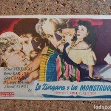 Cine: FOLLETO DE MANO DE LA PELÍCULA LA CINGARA Y LOS MONSTRUOS CON PUBLICIDAD. Lote 263046185