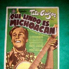 Cine: FOLLETO QUE LINDO ES MICHOACAN PUBLICIDAD AL DORSO 1942. Lote 263063435