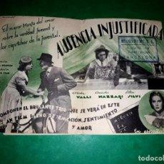 Cine: FOLLETO DOBLE AUSENCIA INJUSTIFICADA PUBLICIDAD AL DORSO 1939. Lote 263076910