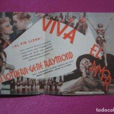 Cine: VIVA EL AMOR GENE RAYMOND PROGRAMA DE CINE DOBLE, C2. Lote 204079970