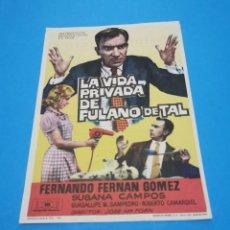 Cine: PROGRAMA DE MANO ORIG - LA VIDA PRIVADA DE FULANO -CINE DE MARTOS IMPRESO AL DORSO. Lote 263123650