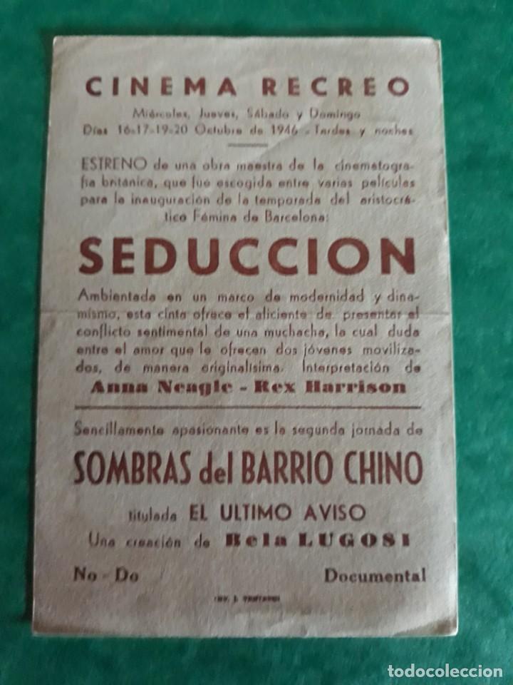 Cine: Folleto Cine Sombras de Barrio Chino Publicidad al Dorso - Foto 2 - 263164370