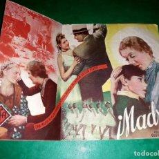 Cine: FOLLETO CINE DOBLE ¡ MADRE ! PUBLICIDAD AL DORSO1936. Lote 263166050