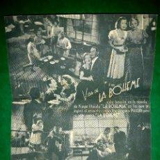 Cine: FOLLETO DOBLE VIDA DE LA BOHEME PUBLICIDAD AL DORSO 1937. Lote 263168420