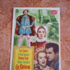 Cine: FOLLETO DE MANO.PROGRAMA DE CINE.LA REINA VIRGEN.CON PUBLICIDAD.ORIGINAL.. Lote 263168750