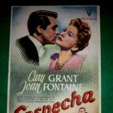 Cine: FOLLETO CINE SOSPECHA DE ALFRED HITCHCOCK CON GARY GRANT .PUBLICIDAD AL DORSO 1963. Lote 263172065