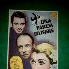 Cine: FOLLETO CINE UNA PAREJA INVISIBLE CON GARY GRANT.PUBLICIDAD AL DORSO 1937. Lote 263174260