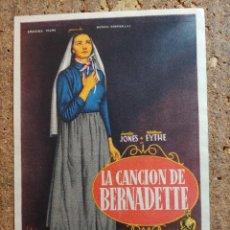 Cine: FOLLETO DE MANO DE LA PELÍCULA LA CANCIÓN DE BERNADETTE CON PUBLICIDAD. Lote 263178810