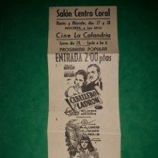 Cine: FOLLETO CINE DOS PELICULAS CABALLERO Y LADRON Y VIDAS HEROICAS PROGRAMA POPULAR. Lote 263180810