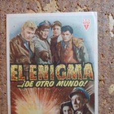 Cine: FOLLETO DE MANO DE LA PELÍCULA EL ENIGMA DE OTRO MUNDO CON PUBLICIDAD. Lote 263181435