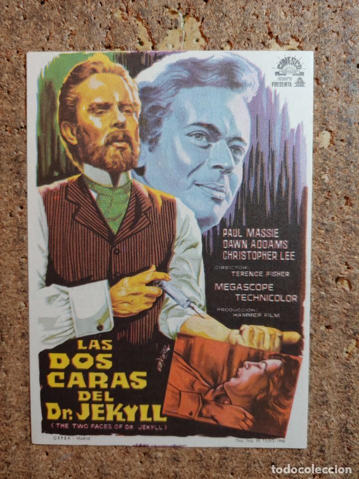 FOLLETO DE MANO DE LA PELÍCULA LAS DOS CARAS DEL DR. JEKYLL CON PUBLICIDAD (Cine - Folletos de Mano - Terror)