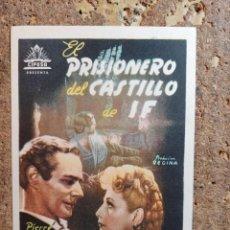 Cine: FOLLETO DE MANO DE LA PELÍCULA EL PRISIONERO DEL CASTILLO DE IF CON PUBLICIDAD. Lote 263184625