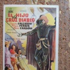 Cine: FOLLETO DE MANO DE LA PELÍCULA EL HIJO DE CRUZ DIABLO CON PUBLICIDAD. Lote 263184780