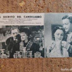 Cine: FOLLETO DE MANO DE LA PELÍCULA EL SECRETO DEL CANDELABRO CON PUBLICIDAD. Lote 263185500